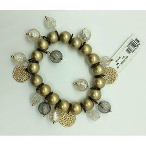 New York & Co Gold Silver Tone Beaded Bracelet $17